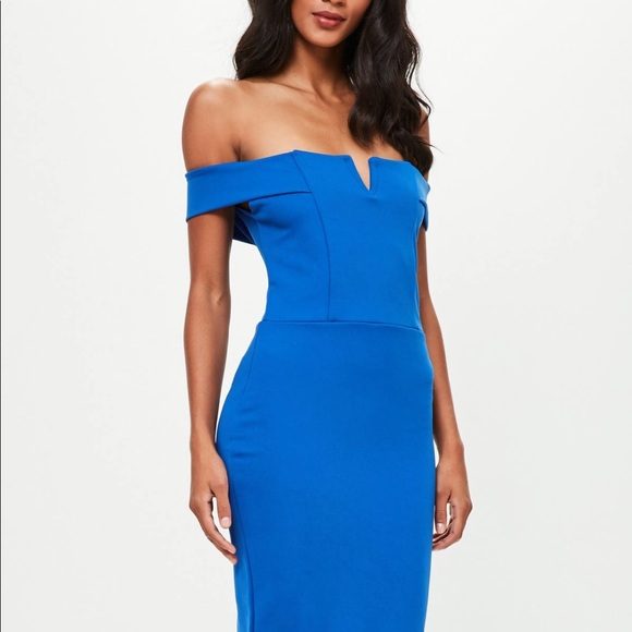 6843ed2e5c7b Missguided Dresses | Blue V Front Bardot Midi Dress Nwt | Poshmark